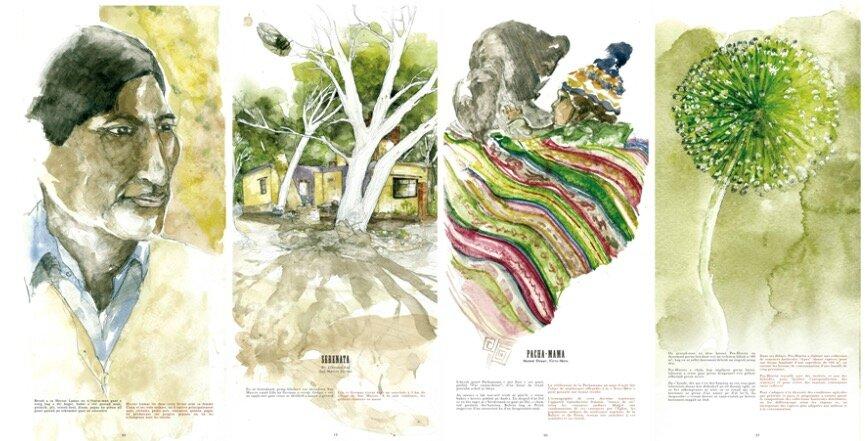 Des paysans sud-américains… dans un carnet de voyage breton