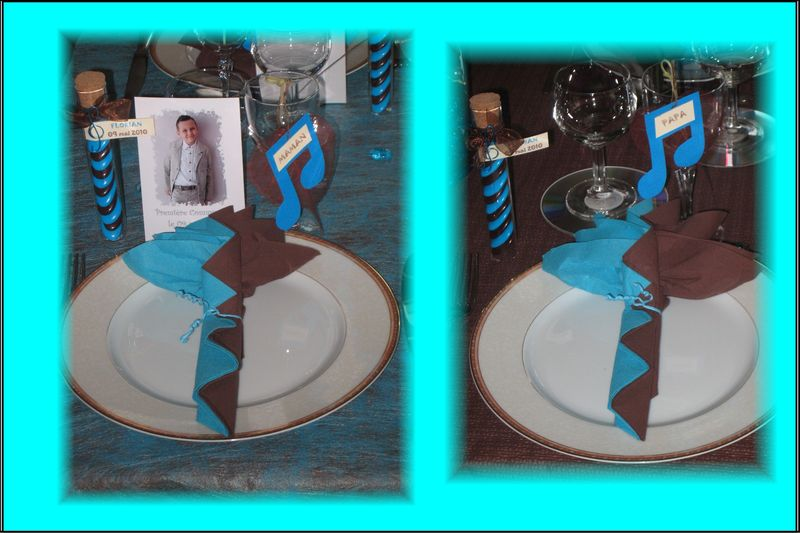 D co de table communion th me musique turquoise et - Decoration de table pour communion garcon ...