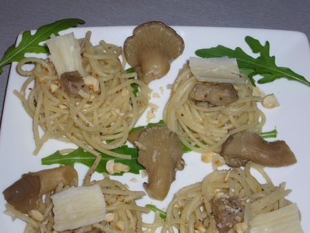 spaghetti champignon noisette