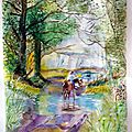 Reverie, aquarelle , 65 x 50.