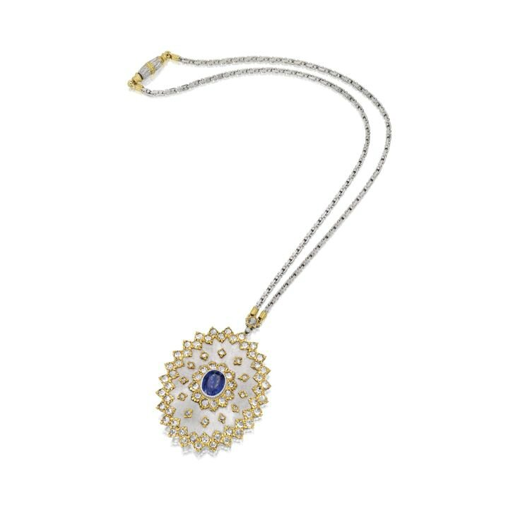 18 Karat Two-Color Gold, Sapphire and Diamond Pendant-Necklace, Buccellati