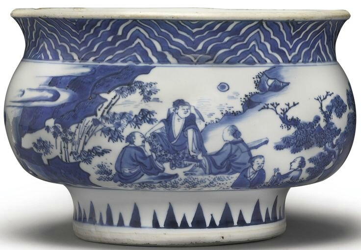 A blue and white censer, Ming dynasty, Chongzhen period