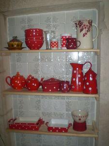 Visite guidee de ma cuisine chiffonni re d 39 toiles - Rideau de cuisine rouge et gris ...