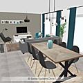Projet client: une pièce de vie en gris, bois et bleu