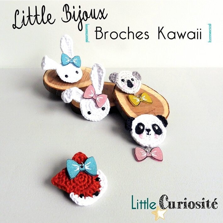 Little Bijoux au Crochet [ Broches Kawaii ] Lapin, Koala, Panda, Renard + Noeud paillettes - Handmade in France ©Little Curiosité (1)