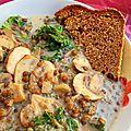 Lentilles, champignons et kale en sauce crémeuse