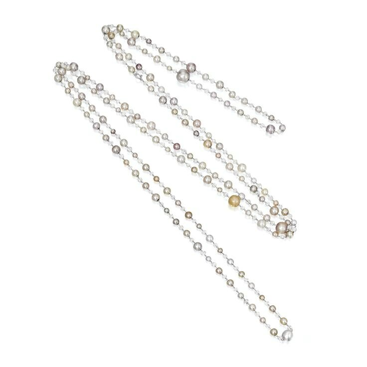 Natural Pearl and Diamond Long Necklace