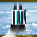 Bague Fimo PF rayé turquoise noir blanc (N)