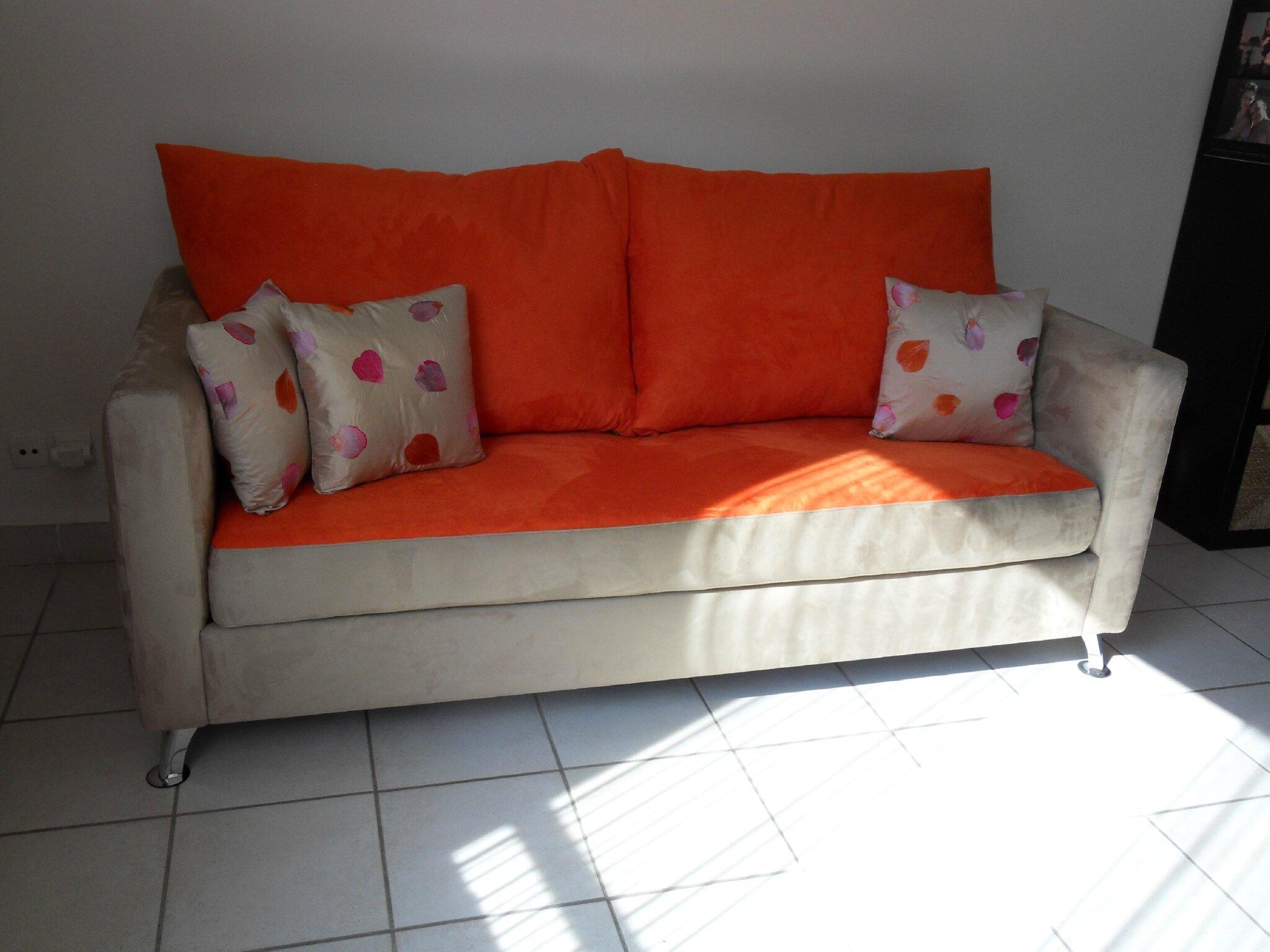 Canapé suédine Orange