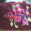 sac en lainage feutr et fleurs tricots et feutres