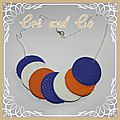 Collier cuir blanc, bleu, orange