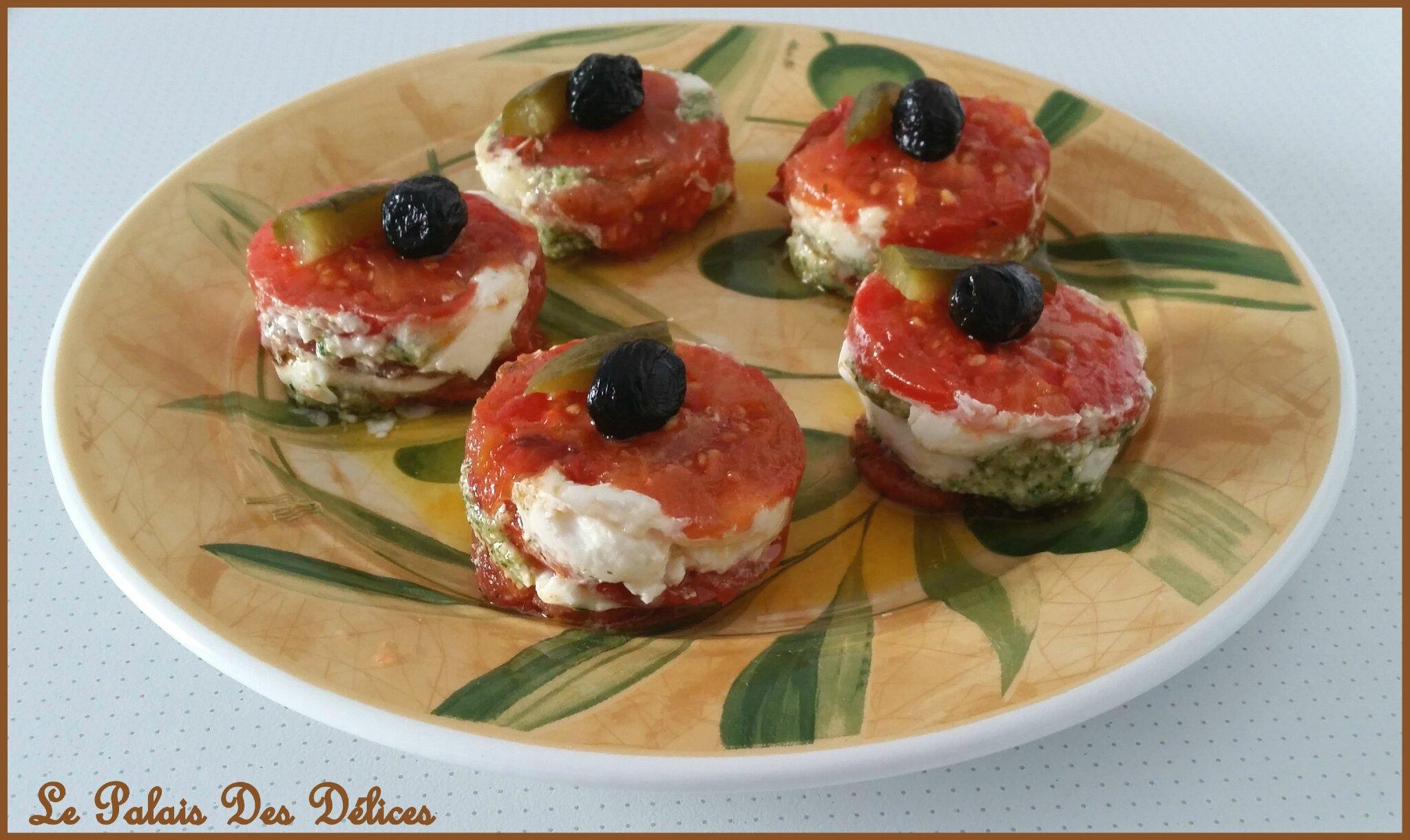 Mille feuilles tomates mozzarella pistou tupperware le for Entree froide facile et rapide