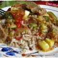 Sauté de porc aux olives et aux légumes d'été
