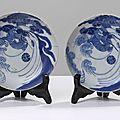 Paire d'assiettes à décor de dragon datant des tây son (1788-1802)