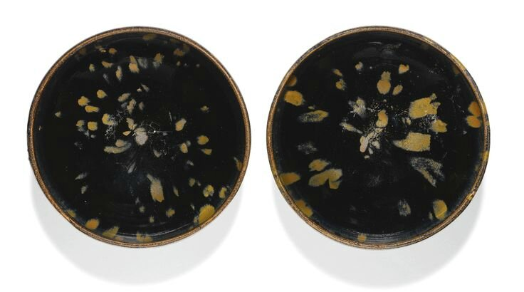 A pair of russet-splashed black-glazed bowls, Northern Song-Jin dynasty