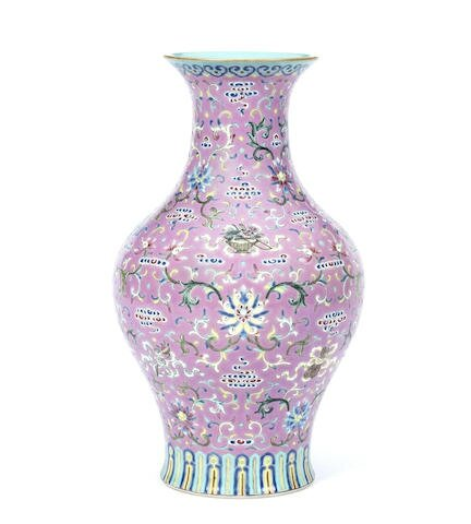 A famille rose pink-ground 'olive-stone-shaped' vase, Iron-red Daoguang seal mark and of the period