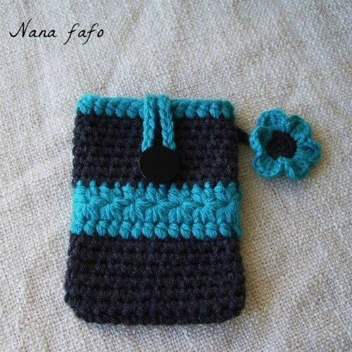 pochette ou tui pour t l phone portable au crochet. Black Bedroom Furniture Sets. Home Design Ideas