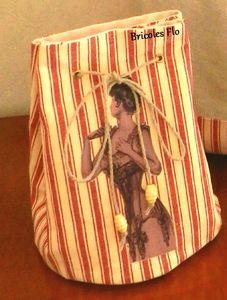 Ensemble sac et pochon lin rayés rouge