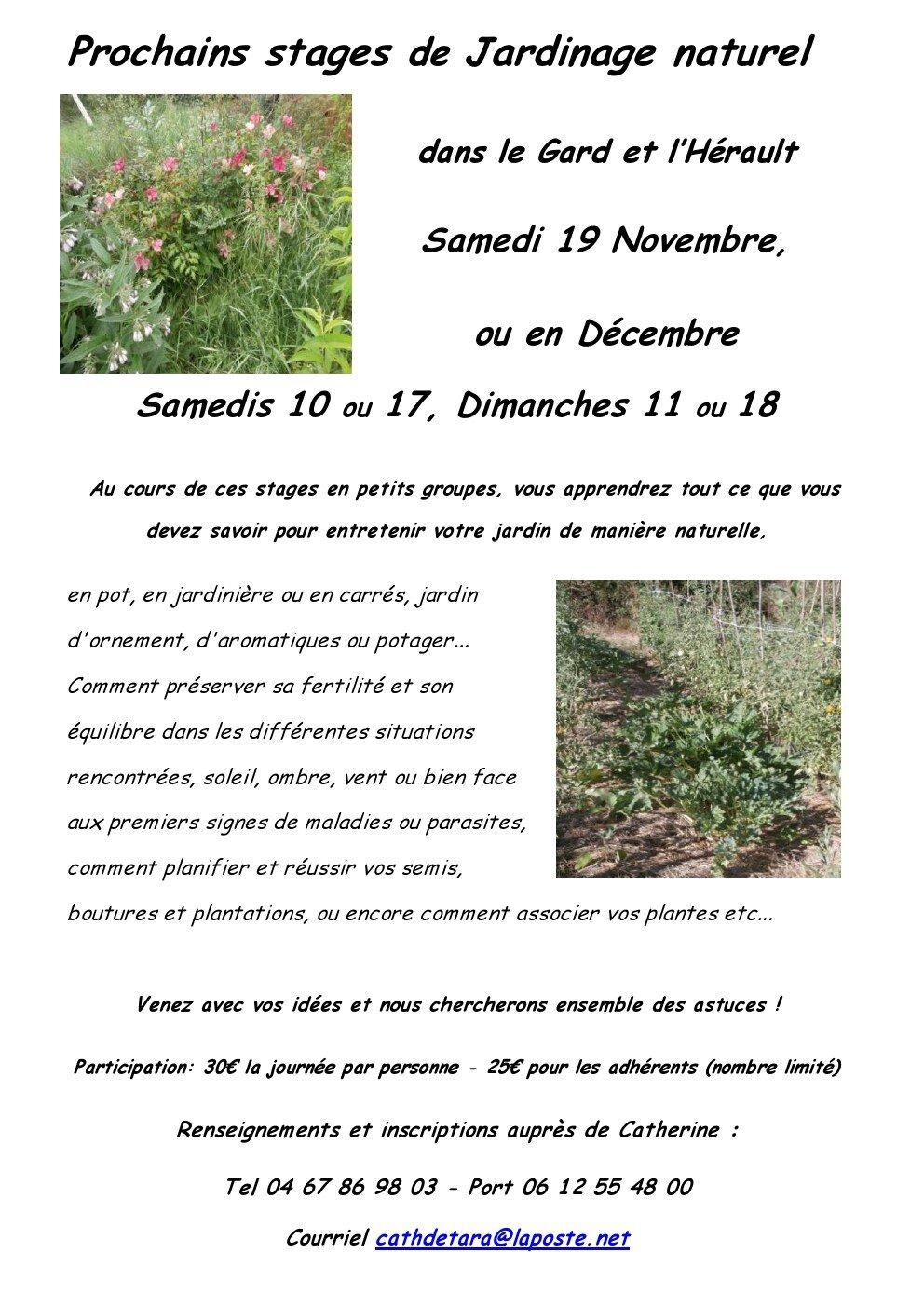 Réservez votre place pour un prochain stage de jardinage naturel avec Les Jardins De Tara dans le Gard ou l'Hérault