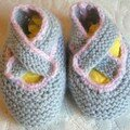 Chaussons 0/3 mois . Baby superwash