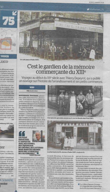 Le Parisien 20180111 aticle Artisans et commercants du 13e Thierry Depeyrot