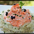 P'tites rosaces de saumon sur fenouil à la crème