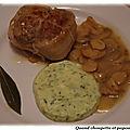 Paupiette de veau au vin blanc et aux champignons de paris