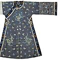A manchu woman's summer gauze robe with counted stitch embroidery. late qing dynasty