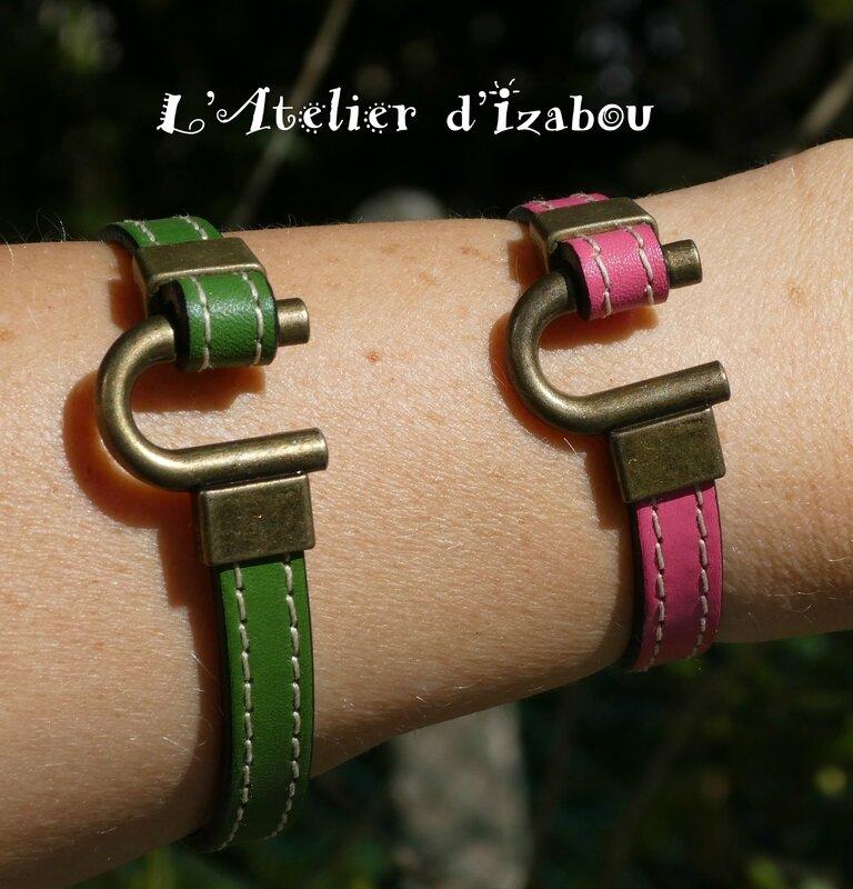 P1010052 Duo de bracelet mère fille cuir rose et vert, fermoir fer à cheval en bronze