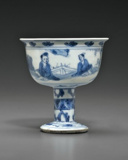 A small blue and white stem cup, Late Ming dynasty, circa 1630-1640