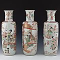 Three vases, china, qing dynasty (1644 - 1911), kangxi era (1662-1722)