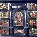 Cabinet on stand: prodigal son cabinet. flemish, antwerp, circa 1650