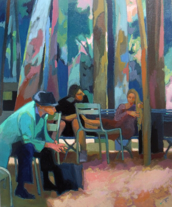 2014- Jardin du Luxembourg- Méditation- huile 61x50cm