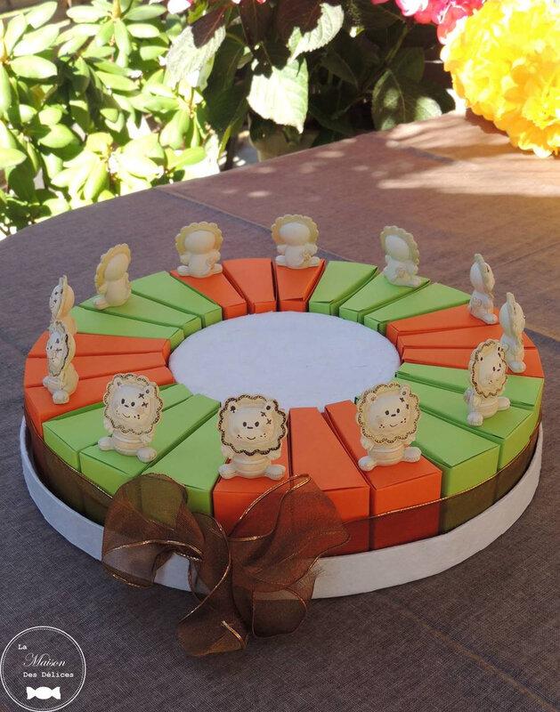 sujet enfant baptême thème animaux afrique savane part gateau dragées ballotin lion vert anis orange