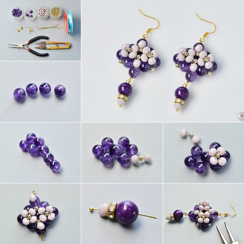 Pandahall-Original-DIY---How-to-Make-a-Pair-of-Purple-Rhombus-Glass-Bead-Drop-Earrings