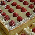 Tarte sable aux framboises et ganache chocolat blanc