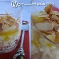 Riz au lait au caramel d'oranges et aux amandes grillées
