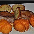 Emincé de mignon de porc au caramel amer beignets de potiron