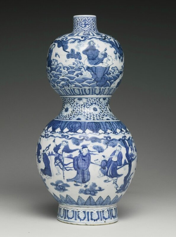 A blue and white double-gourd vase, Ming dynasty, Jiajing period