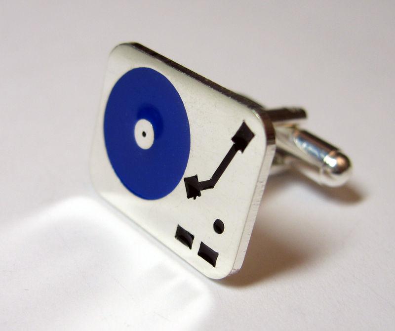 platine vinyle bleu et argent-