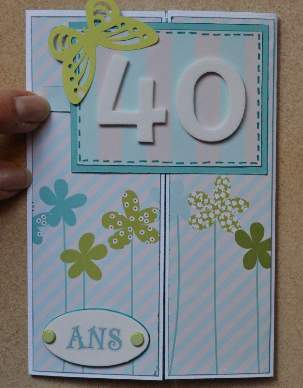 Carte 40 ans..en scrapbooking  Anniversaire 40 ans : cadeau, citation, carte,