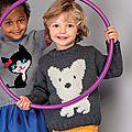 Pull taille 2 ans à 10 ans en laine phildar