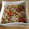 Salade de riz thon maïs tomate et concombre