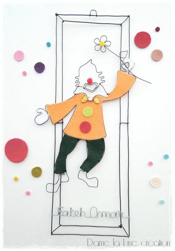 mobile_clown_prénom_fil de fer_damelalune_ création originale_sur mesure