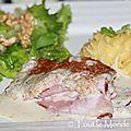 Jambon fumé sauce à l'échalote au vin du jura gratiné au parmesan