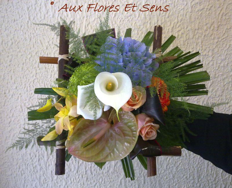 Bouquet Damier Arum, Hortensia,Anthurium