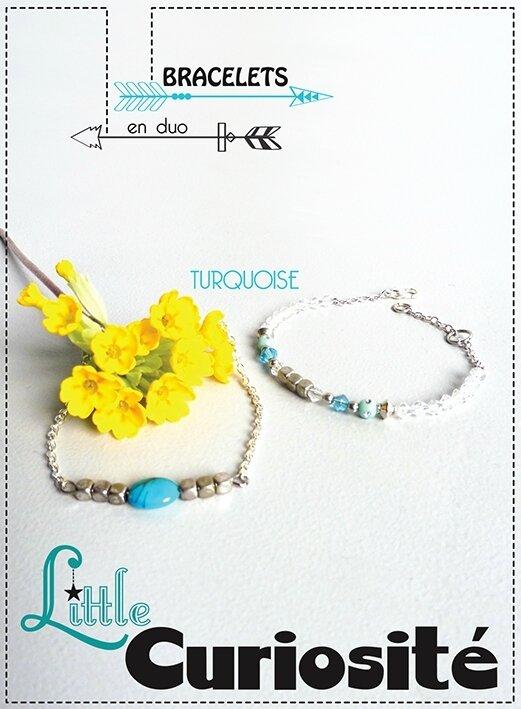 Bijoux Bracelet fin Minimaliste - Duo de bracelets Perles Argent - Turquoise - Fait main France - ©Little Curiosité (1)