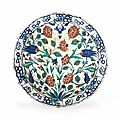 An extremely large and impressive iznik pottery dish, ottoman turkey, circa 1590