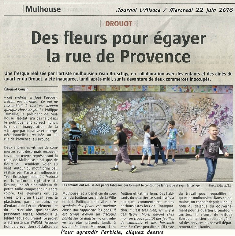 Quartier Drouot - Journal L'Alsace - 22 juin 2016 - Fresque participative