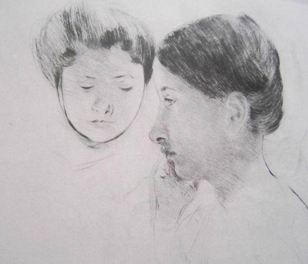 Céleste et Marjorie vers 1898 pointe sèche